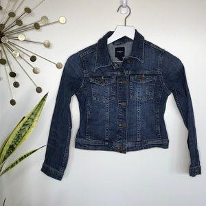 Gap kids distressed blue denim jacket Size large